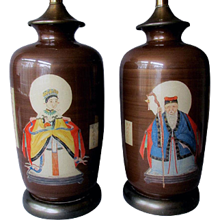 Pair Vintage Mid Century CHINESE EMPEROR & EMPRESS Reverse Painted Style Table Lamps
