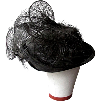 Antique Victorian or Edwardian Era LADY'S BLACK STRAW HAT with FEATHERS circa  1890 - 1910