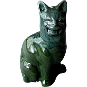 Antique Hand Made LAUDER BARUM British Art Pottery CRAZY CAT with Tin Glaze 1900