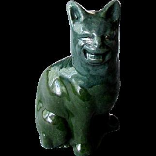 Antique Hand Made LAUDER BARUM British Art Pottery CRAZY CAT with Tin Glaze 1900