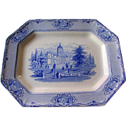 "19th Century James Ridgway STAFFORDSHIRE 13"" Blue Transferware University Platter"