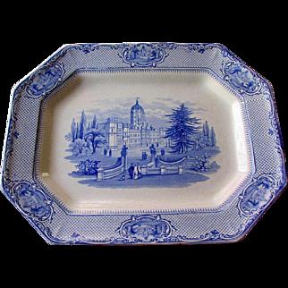 "19th Century James Ridgway STAFFORDSHIRE 13"" Blue Transferware University Platter"