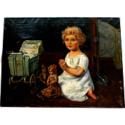 Large ANTIQUE Oil painting on Canvas BEDTIME PRAYERS Child with Dolls and Carriage -  Artist Signed A. Broch