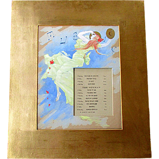 Antique Gouache Watercolor Painting -  Lobby Card  - DANCE MUSIC MARQUEE circa 1914