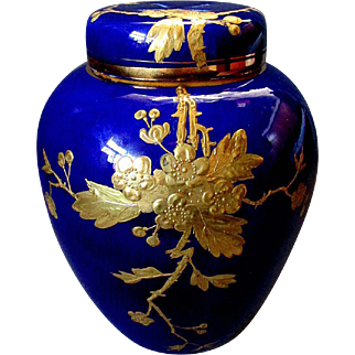 Antique 19th Century New England Pottery Co. RIETI Gold & Cobalt Blue POTPOURRI JAR 1888