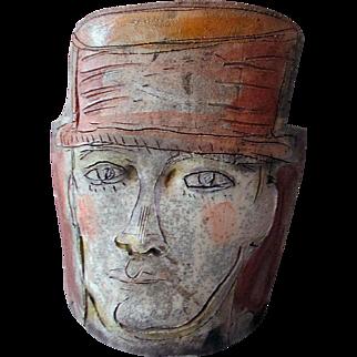 Vintage MID CENTURY Slab Pottery Sculpture MALE HEAD