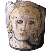 Vintage MID CENTURY Slab Pottery Sculpture FEMALE HEAD Artist Signed BH