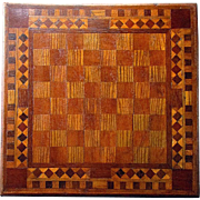 Antique 19th Century CHESS BOARD Home Made Inlaid Wood Two Sided CHECKERBOARD Parcheesi