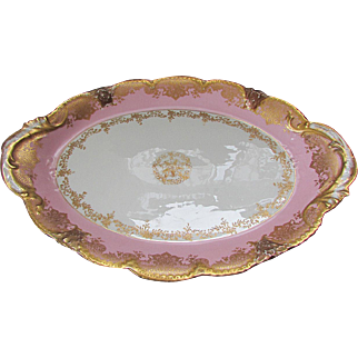 "Beautiful Pink & Gold THEODORE HAVILAND LIMOGES 16 1/2""  Porcelain Platter circa 1900"