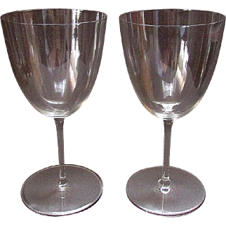 "Matched Pair FINE Vintage BACCARAT Blown Clear Glass 7"" WINE GLASSES Signed"