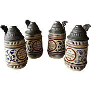 "4 Antique Reinhold Merkelbach 5 3/4"" GERMAN LIDDED STEINS with Slogans 1900"