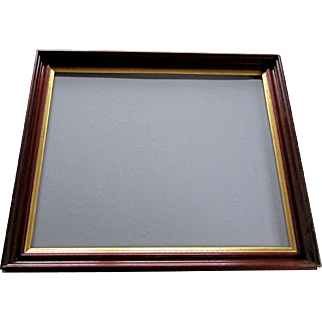 Large ANTIQUE 19th Century DEEP WALNUT FRAME with Gilt Patterned Liner  circa 1880