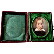 Antique 19th Century MINIATURE PAINTING Portrait of a Young Boy