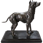Antique BRONZE Miniature Statue on Slate Base DOZER Boxer Dog circa 1890 - 1910