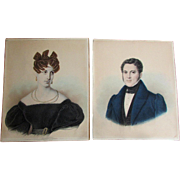 Pair Antique FREDERICK GUTEKUNST Hand Colored Photograph PORTRAITS Handsome Man and Beautiful Woman circa 1870