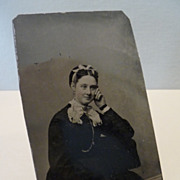 Vintage Tintype Photograph Posing Lady