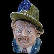 Antique Majolica Figural Humidor Tobacco Jar