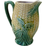Etruscan Majolica Corn Pitcher by Griffin, Smith & Hill