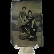 Vintage Tintype of Women Dressed in Bathing Suits