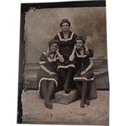 Vintage Tintype of Women in Studio Beach Scene