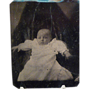 Vintage Tintype Child with Creepy Shrouded Background