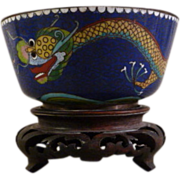 Chinese Cloisonne Enamel Dragon Bowl with Carved Wood Pedestal Base - Red Tag Sale Item