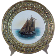 Made in England PEERAGE Brass and Porcelain Wall Plate - Nautical