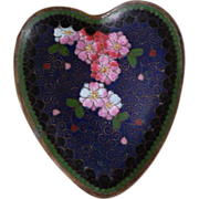 Chinese Cloisonne Dish Heart Shape Cobalt Blue with Cherry Blossom
