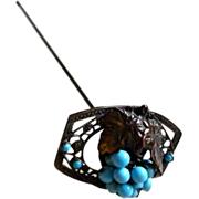 Vintage Blue Bead and Grape Motif Long Stem Hat Pin