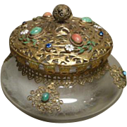 Vintage Glass Dresser Jar Powder Jar with Enamel Flowers, Rhinestones and Filigree Detail