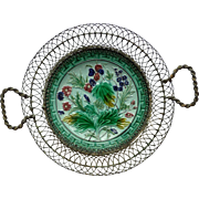 Majolica Wire Work Basket Plate