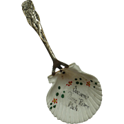 Vintage Coin Silver Plate & Seashell Mermaid Souvenir Spoon