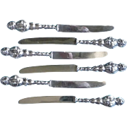 Vintage Set of Six Sterling Silver Fruit Knives