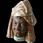 Antique Majolica Middle Eastern Figural Humidor Tobacco Jar