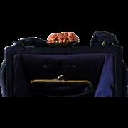 Vintage Nettie Rosenstein Midnight Blue with Coral Clasp Purse