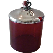 Blackinton Sterling Silver and Ruby Glass Strawberry Jam Pot