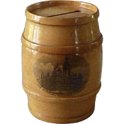 Victorian Scottish Mauchline Ware Barrel Bank