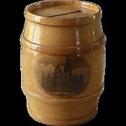 Victorian Scottish Mauchline Ware Barrel Bank