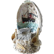 Vintage Abalone Nautical Sea Shell Art and Inkwell