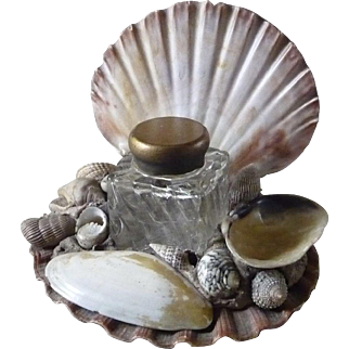 Vintage Sea Shell Art and Inkwell