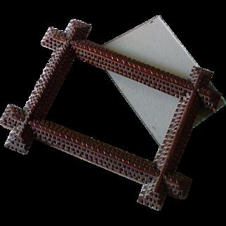 Antique Tramp Art Picture Frame Original Glass