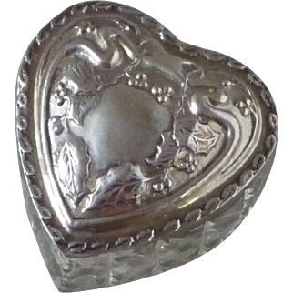 Vintage Sterling Silver Lidded and Cut Glass Heart Shaped Box