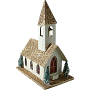 Vintage Putz Glitter Christmas Church with Original Box