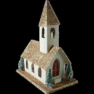 Vintage Putz Glitter Christmas Church with Original Box