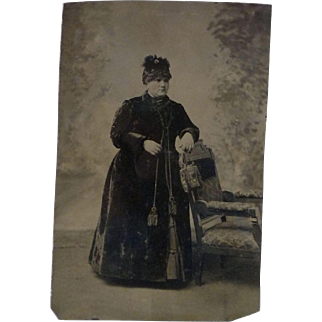 Vintage Tintype of Young Woman 1/2 Plate