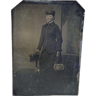 Tintype of Smartly Dressed Woman in Studio Setting - 1/6 Plate