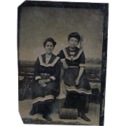 Vintage Tintype of Women in Studio Beach Scene - 1/6 Plate