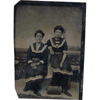 Vintage Tintype of Women in Studio Beach Scene - 1/6 Plate