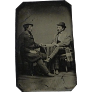 Vintage Tintype of Men in Conversation in Staged Studio Setting - 1/6 Plate
