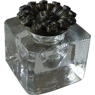 Vintage Blown Glass Inkwell with Detached Brass Lid